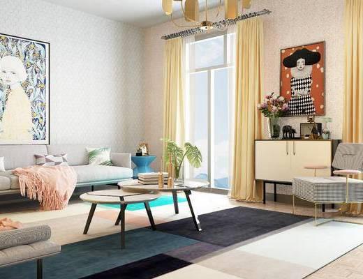 北欧, 客厅, 圆几, 装饰柜, 边柜, 挂画, 陈设品, 摆件