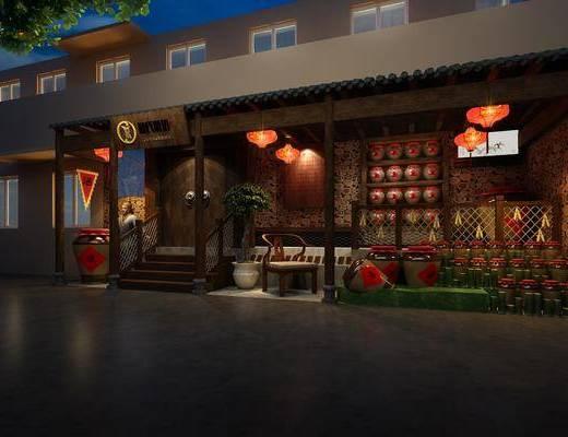 中式餐厅, 中式门头, 酒缸, 椅子, 灯笼