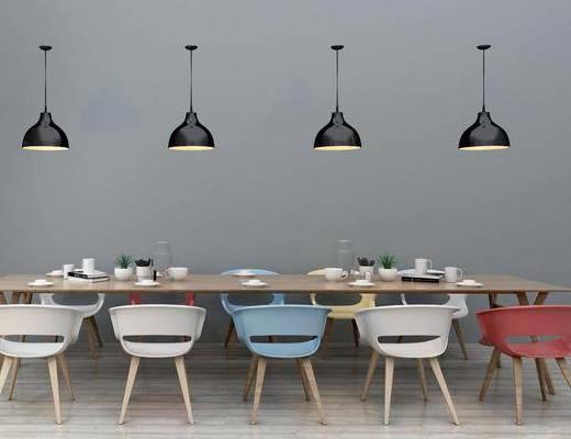 餐桌, 餐椅, 单人椅, 休闲椅, 吊灯组合, 休闲桌椅, 现代
