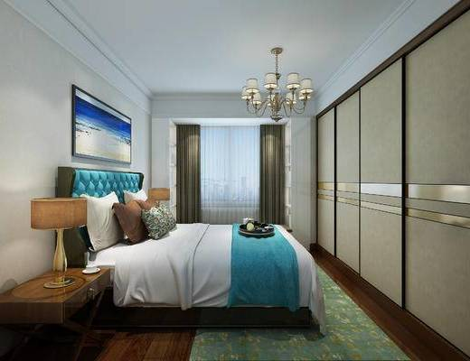 欧式风格, 主卧室, 次卧室, 卧室, 欧式卧室, 床