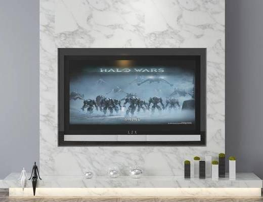 电视柜, 背景墙, 摆件组合