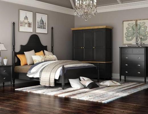 美式, 床, 床头柜, 衣柜, 边柜, 装饰画, 玄关柜, 台灯, 挂画, 吊灯, 地毯