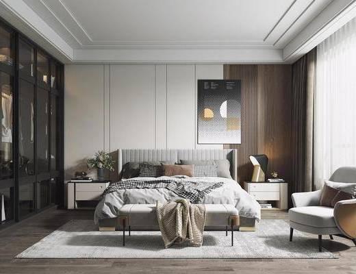 双人床, 床尾踏, 装饰画, 衣柜, 单椅