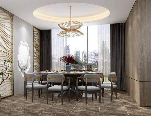 餐厅, 餐桌, 餐椅, 单人椅, 餐具, 吊灯, 花瓶花卉, 盆栽, 绿植植物, 现代轻奢
