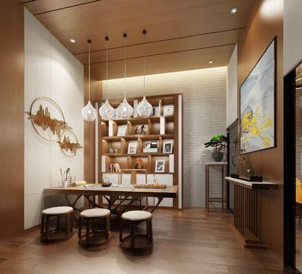 茶室, 接待室, 茶桌, 单人椅, 凳子, 墙饰, 吊灯, 装饰画, 挂画, 边几, 装饰柜, 装饰架, 盆栽, 装饰品, 陈设品, 新中式