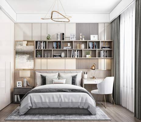 单人床, 置物柜, 桌椅组合, 衣柜, 吊灯