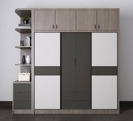 实木衣柜, 装饰柜组合, 现代