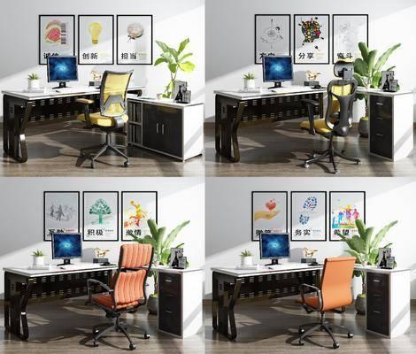 办公桌, 办公椅, 单人椅, 盆栽绿植, 植物, 装饰画, 挂画, 电脑, 盆栽, 桌椅组合, 现代