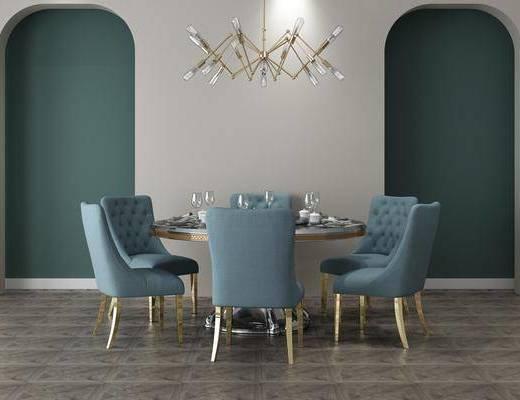餐桌, 桌椅组合, 餐具组合, 吊灯