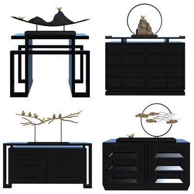 边柜, 装饰柜, 摆件, 装饰品, 陈设品, 新中式