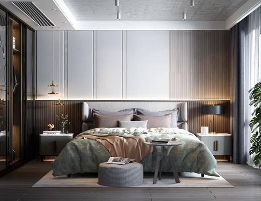 双人床, 床头柜, 吊灯, 衣柜, 床具组合