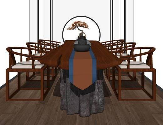新中式, 茶台, 茶桌椅, 组合