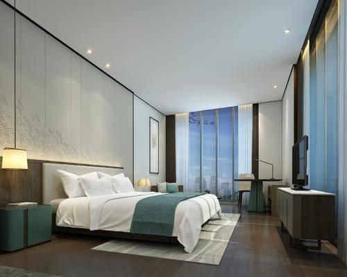 现代, 酒店, 客房, 单人床