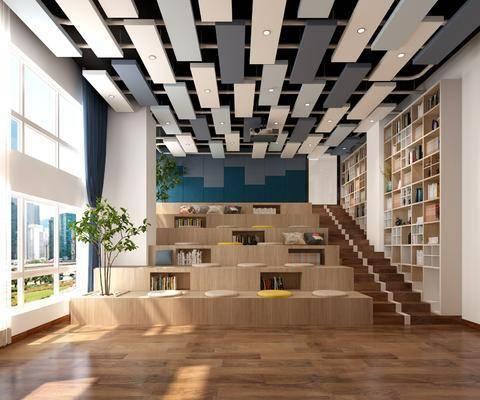 书柜, 书架, 书籍, 景观植物, 抱枕