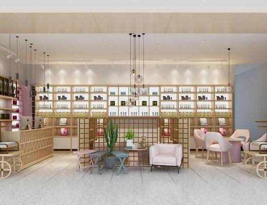 现代化妆品专卖店, 装饰柜, 摆件
