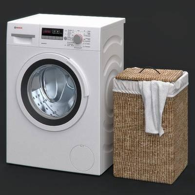 洗衣机, 收纳筐, 藤编, 现代