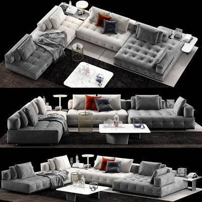 边几, 茶几, 地毯, 摆件, 沙发组合, 转角沙发, 多人沙发, 现代