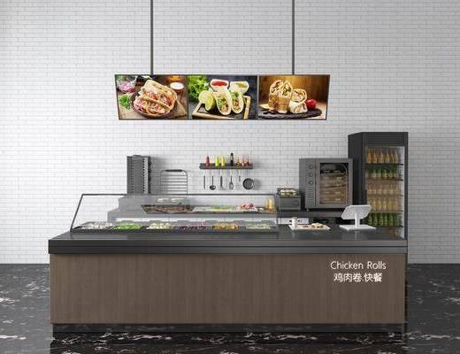 现代, 餐台, 快餐台, 商业设备, 3D模型
