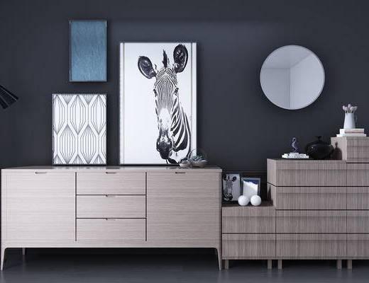 现代, 边柜, 玄关柜, 落地灯, 装饰画, 挂画, 镜子, 斗柜, 北欧