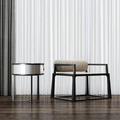 新中式, 椅子, 单人椅, 圆几, 茶几