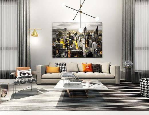 多人沙发, 茶几, 脚踏沙发, 边几, 吊灯, 装饰画, 挂画, 单人沙发, 单人椅, 摆件, 装饰品, 陈设品, 北欧