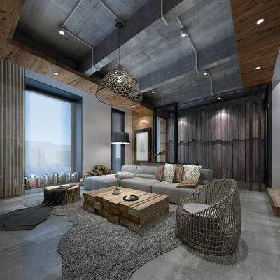 别墅, 新中式, 工业风, 客厅, 餐厅