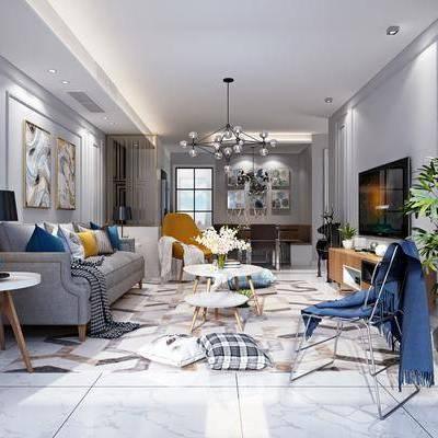 客厅, 多人沙发, 茶几, 单人沙发, 布艺沙发, 单人椅, 休闲椅, 绿植, 植物, 电视柜, 吊灯, 装饰画, 挂画, 边几, 台灯, 摆件, 装饰品, 北欧