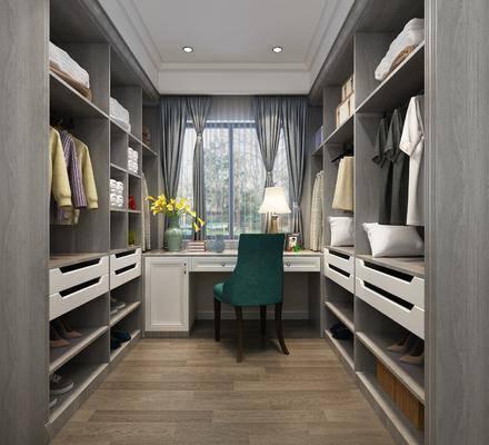 衣帽間, 衣柜, 裝飾柜, 服飾, 書桌, 單人椅, 臺燈, 擺件, 裝飾品, 陳設品, 簡歐