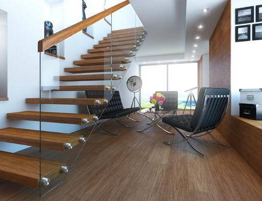 现代, 楼梯, 单体沙发, 休闲沙发, 多人沙发, 沙发茶几组合, 沙发组合, 装饰画, 陈设品, 摆件, 后现代