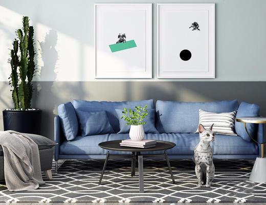 北欧简约, 蓝色, 沙发茶几组合, 宠物猫