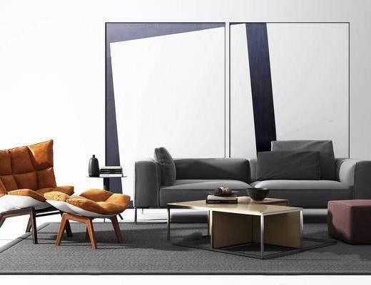 沙发组合, 茶几, 单椅, 装饰画, 边几, 摆件组合