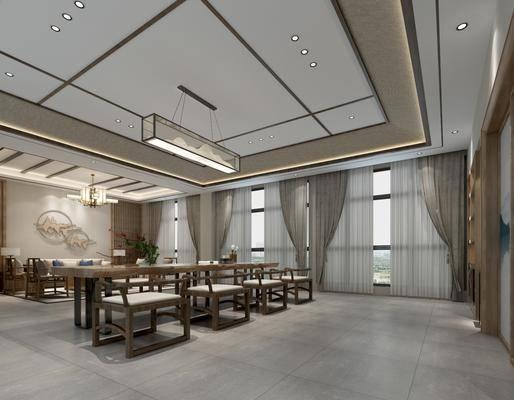 泡茶室, 茶桌椅組合, 吊燈組合, 掛畫組合, 裝飾柜組合, 新中式泡茶室
