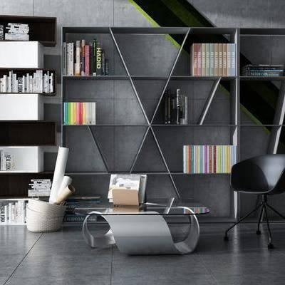 书柜, 书籍, 书本, 摆件, 装饰品, 案几, 茶几, 单椅, 休闲椅, 现代