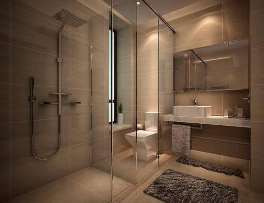 卫生间, 装饰镜, 洗手台, 马桶, 花洒, 地毯, 现代