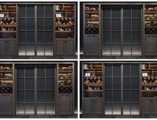 酒柜組合, 裝飾柜組合, 擺件組合, 現代