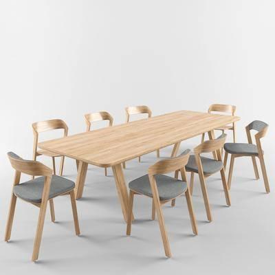 餐桌, 餐椅, 长桌椅, 现代