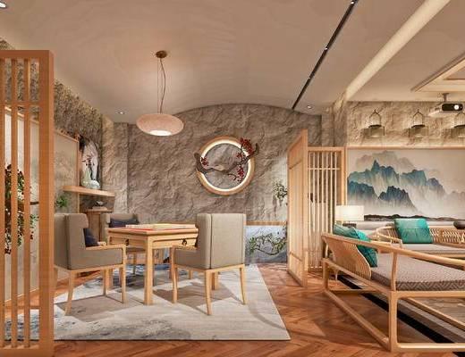 麻将室, 吊灯, 墙饰, 背景墙, 沙发组合