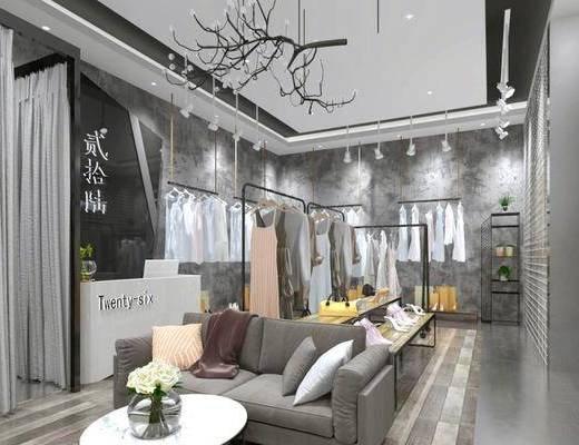 衣架, 吊灯, 吊饰, 展示架, 沙发组合, 茶几, 模特, 门面