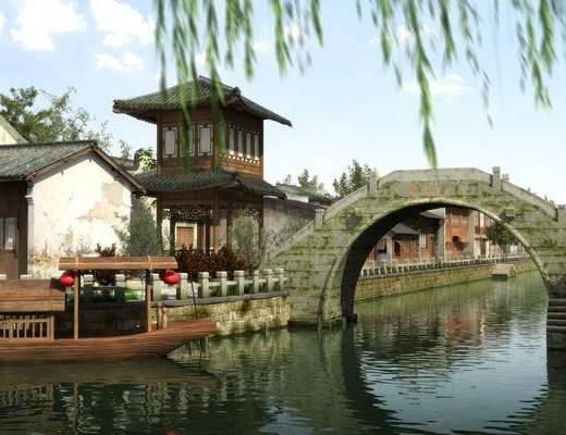 古镇, 江南水乡, 小桥流水, 古建园林