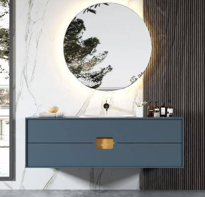 卫浴架, 柜架组合, 洗手盆, 摆件, 壁镜