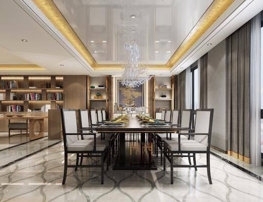 新中式餐厅, 新中式, 餐厅, 中式椅子, 餐桌, 吊灯