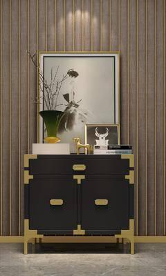 玄关柜组合, 装饰柜, 边柜, 摆件, 装饰品, 陈设品, 装饰画, 挂画, 现代
