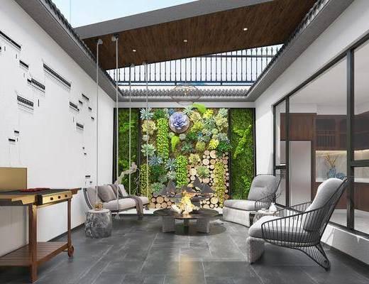墙饰, 绿植墙, 单椅