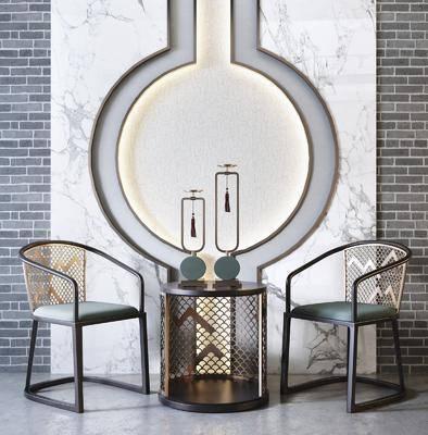 单椅, 边几, 墙饰, 摆件组合