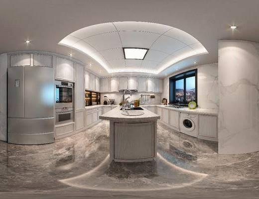 厨房, 橱柜, 线条柜门, 餐具, 调料瓶, 装饰架, 冰箱, 吧台, 置物柜, 简欧