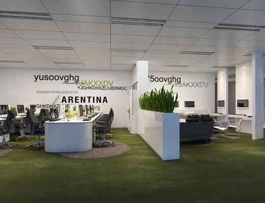 办公室, 办公桌, 办公椅, 单人椅, 绿植植物, 现代