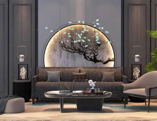 沙发组合, 休闲椅, 茶几, 吊灯, 植物, 摆件组合