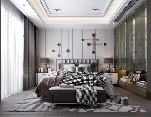 主人房, 地毯, 床尾凳, 墙饰, 窗帘, 衣柜