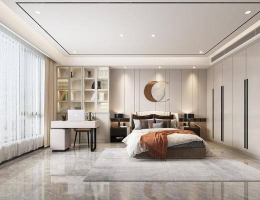 现代卧室, 双人床, 装饰柜, 桌椅, 床头柜