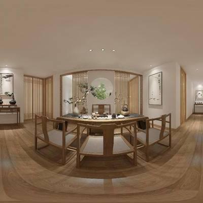 中式茶室, 中式, 茶室, 茶馆, 屏风, 中式装饰画, 帘子, 椅子